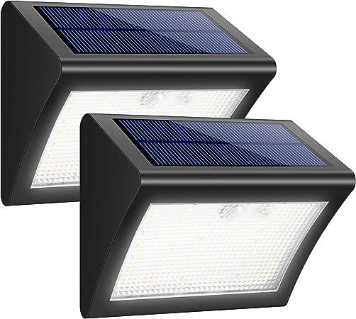 iPosible Luz Solar Jardín, Foco Solar 38 LED 1500mAh Lámpara Solar de Pared Impermeable,Luces solares Exterior con Sensor de Movimiento Batería Solar 3 Modos para Jardín,Patio,Camino - 2 Paquetes: Amazon.es: Hogar
