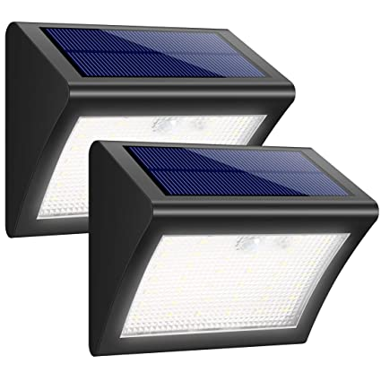 iPosible Luz Solar Jardín, Foco Solar 38 LED 1500mAh Lámpara Solar de Pared Impermeable,Luces solares Exterior con Sensor de Movimiento Batería Solar ...