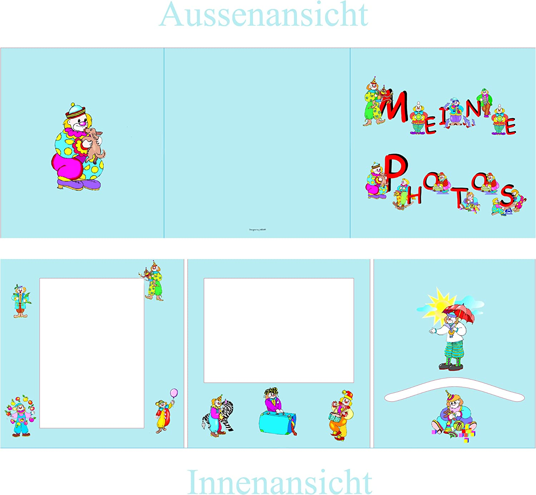 Fotomappe Portraitfotos Hoch+Querformat+Einstecktasche Bildermappe Fotoalbum Kindergartenmappe Clown Ausgabemappe Foto Leporello *Meine Photos* 10 St/ück