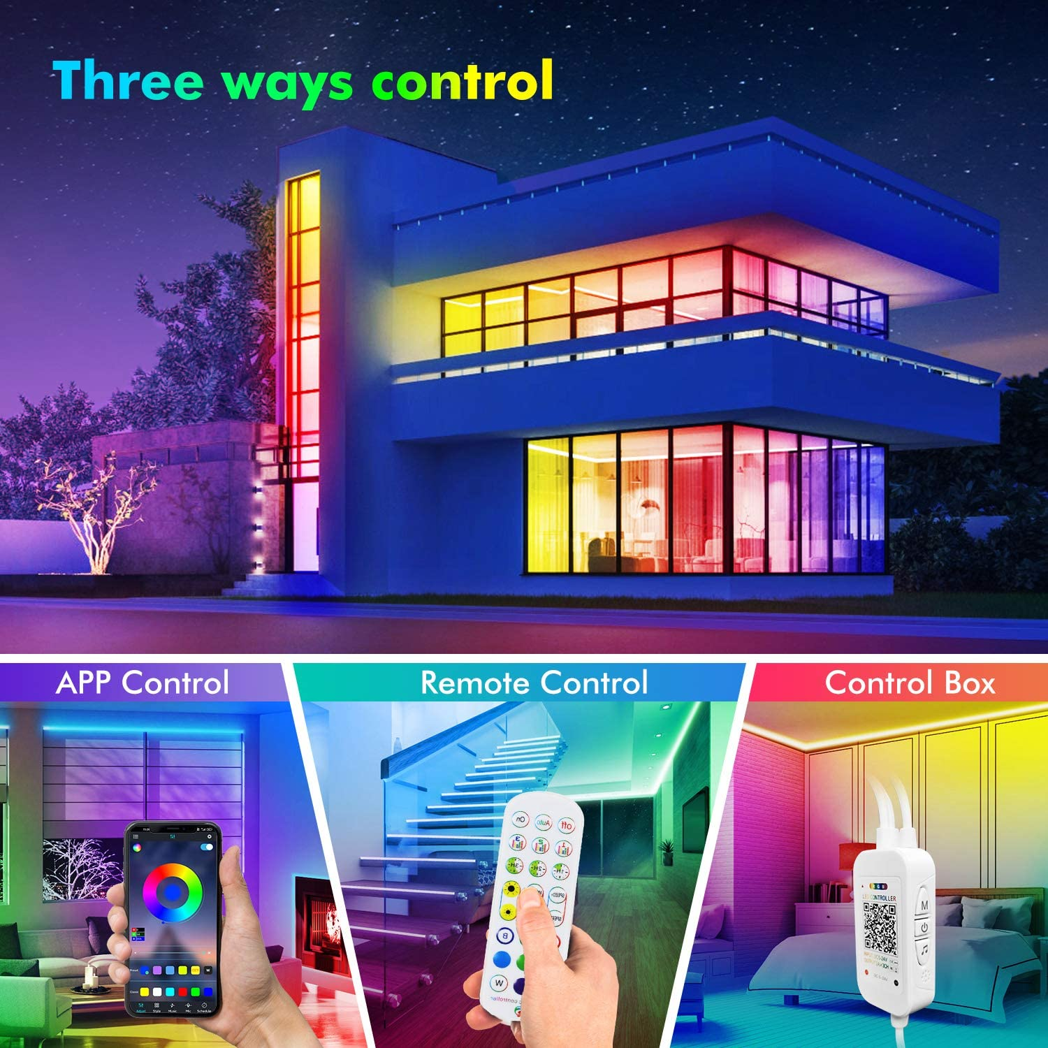 Built-in Mic Remote Party Livingpai Color Changing LED Light Strips with Music Sync 100ft Led Strip Lights TV Bluetooth App Control Kitchen RGB LED Lights for Bedroom Home