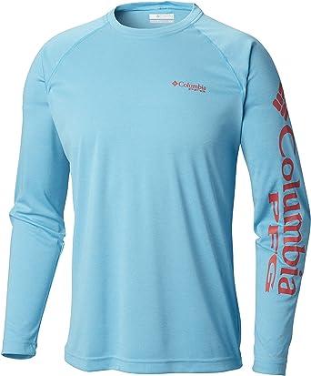 Mens Columbia PFG Terminal Tackle Logo L//S Long Sleeve Fishing Shirt Clean Green