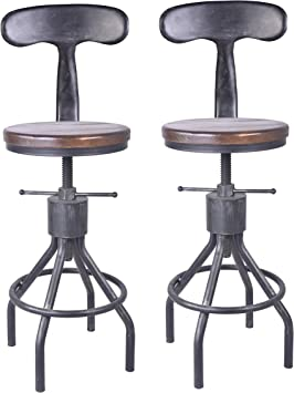 Liusin Metal Bar Stools Set of 2 Industrial Round Barstool with Wood Seat and Metal Square Leg 28 Inch for Counter Pub bar Height Rustic Brown