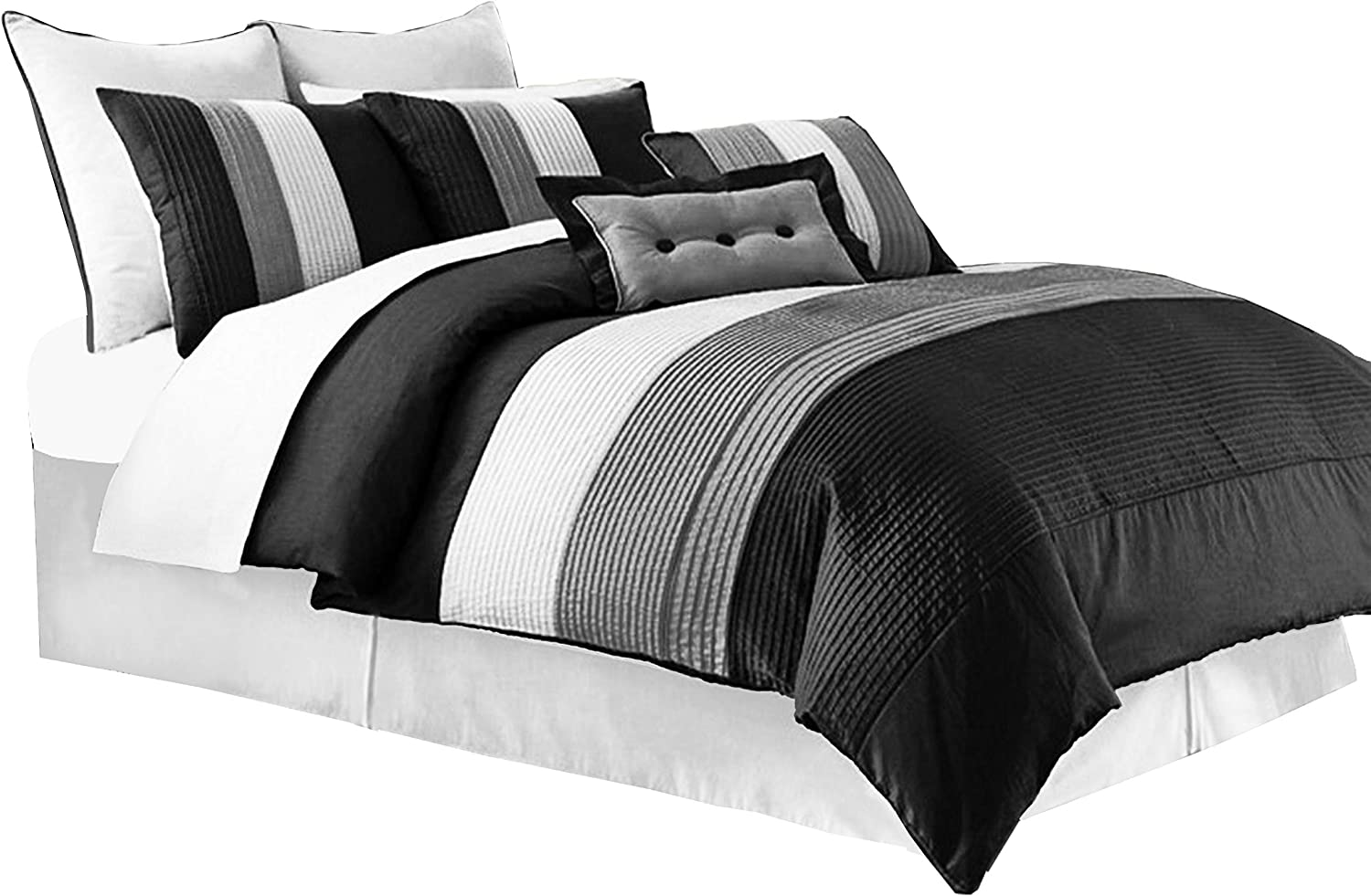 Chezmoi Collection 90 x 92-Inch 8-Piece Luxury Stripe Comforter Bed-in-a-Bag Set, Black/White/Grey, Queen