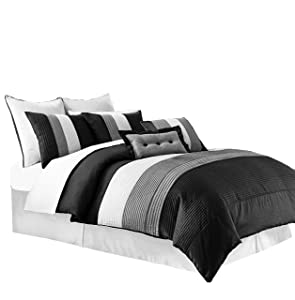 Chezmoi Collection 6-Piece Luxury Stripe Comforter Bed-in-a-Bag Set, Black/White/Grey, Twin