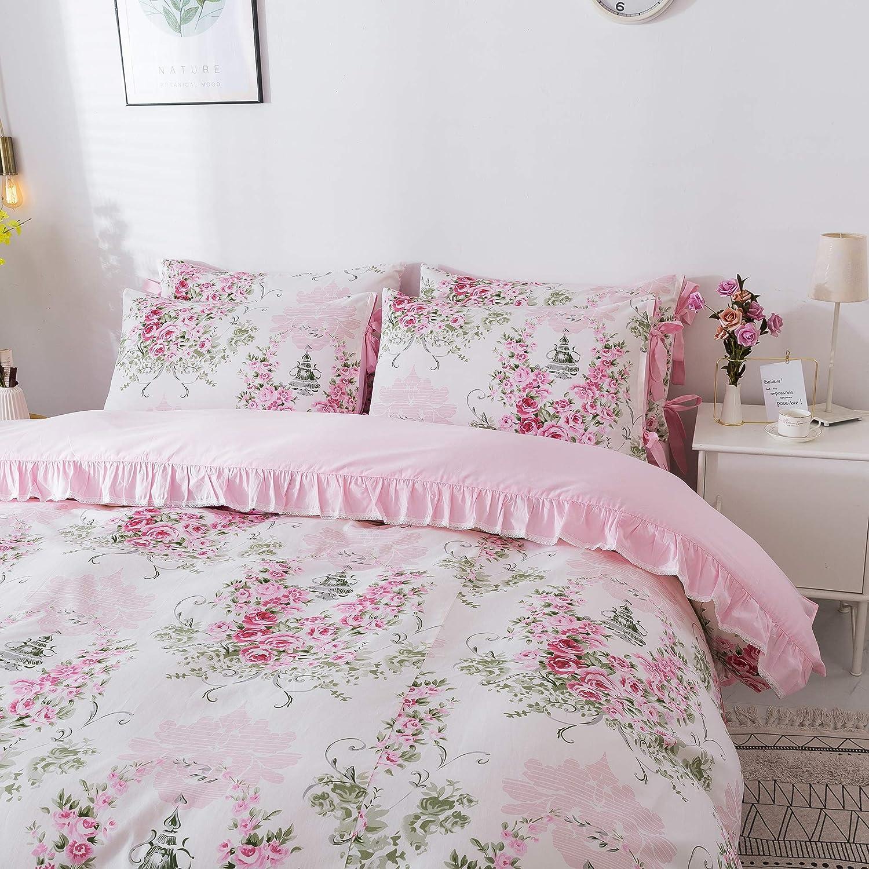 1 Duvet Cover +1 Fitted Sheet+ 1 Flat Sheet +2 Standard Pillowcases FADFAY Rosette Floral Duvet Cover Sweet Pink Girls Bedding Set 100/% Cotton Hypoallergenic Bed Sheets Set,5Pcs Full Size