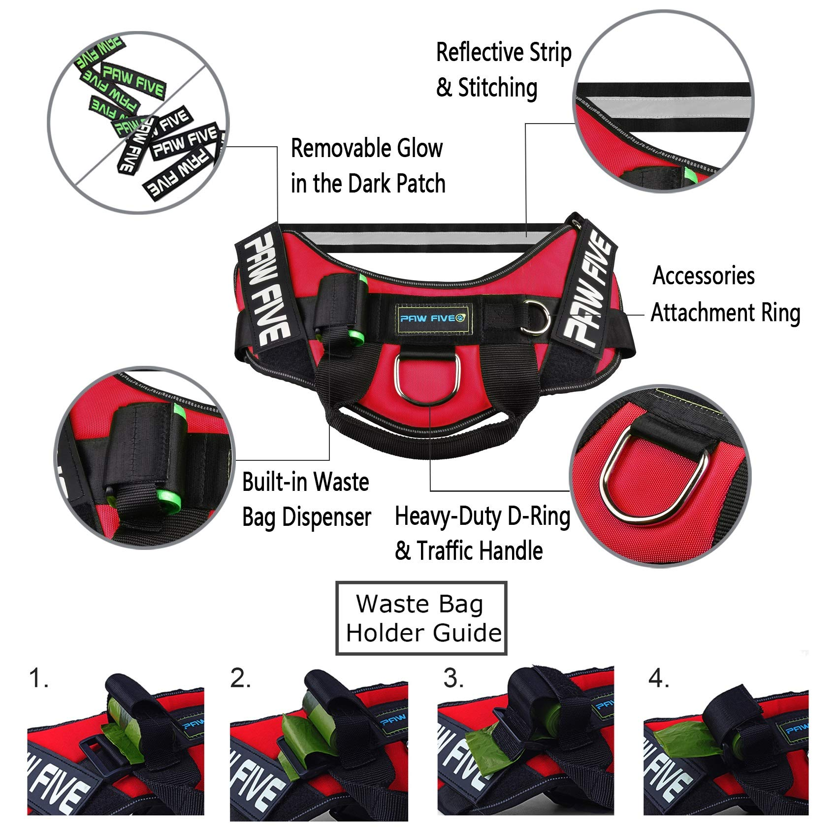 Paw Five CORE-1 Reflective Dog Harness with Built-in Waste Bag Dispenser Adjustable Padded No-Pull Easy Walk Control for Medium and Large Dogs, Check Sizing Chart Before Ordering (Medium, Lava Red) by Paw Five (Image #6)