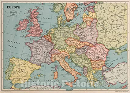 Amazon.com: Historic Map   Europe. The Whitney-Graham Co ...
