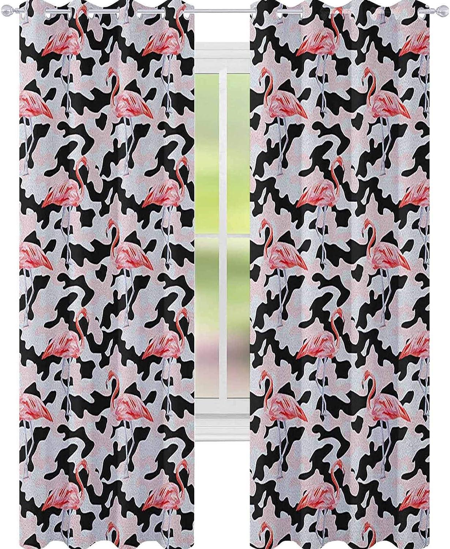 YUAZHOQI - Cortina de ventana de camuflaje, diseño de flamenco, color rosa