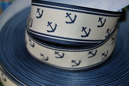 Fine Ribbon Queen 2M X 22Mm Nautical Anchor Seashore Navy Blue Funny Birthday Cards Online Alyptdamsfinfo
