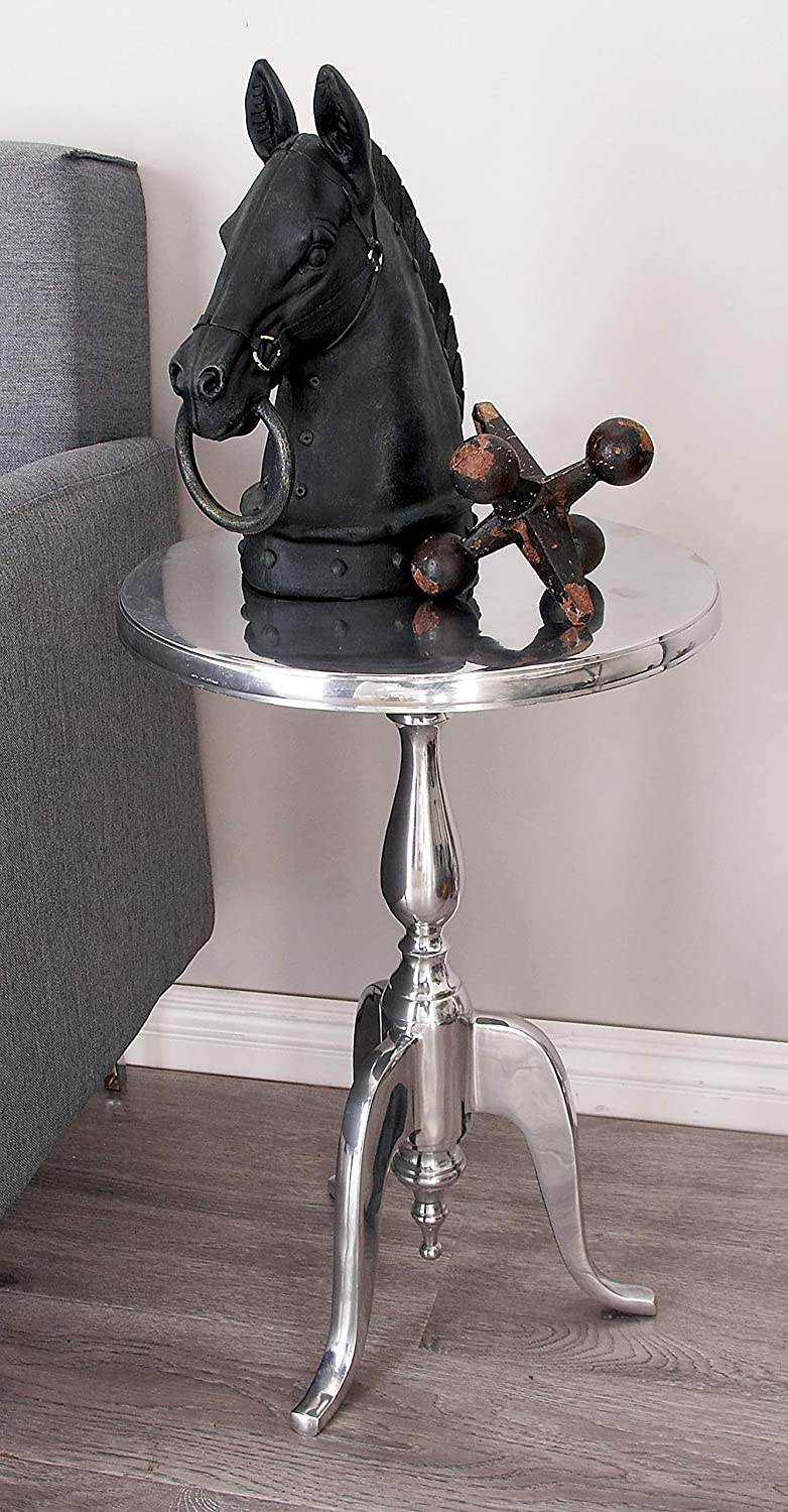 """Deco 79 30567 Small, Round Traditional Metallic Silver End Table with Finial, Holiday Accent Tables, Metallic Silver Accent Table Great for Holiday Parties, Christmas Decor Display Table 