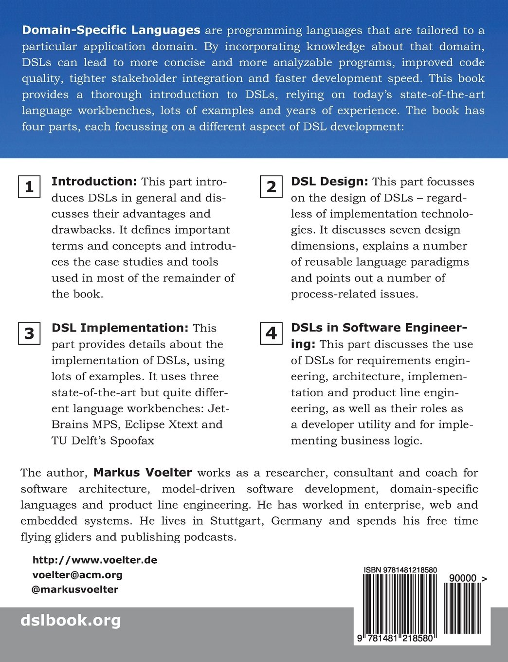 Dsl Engineering Designing Implementing And Using Domain Specific Languages Voelter Markus 9781481218580 Amazon Com Books
