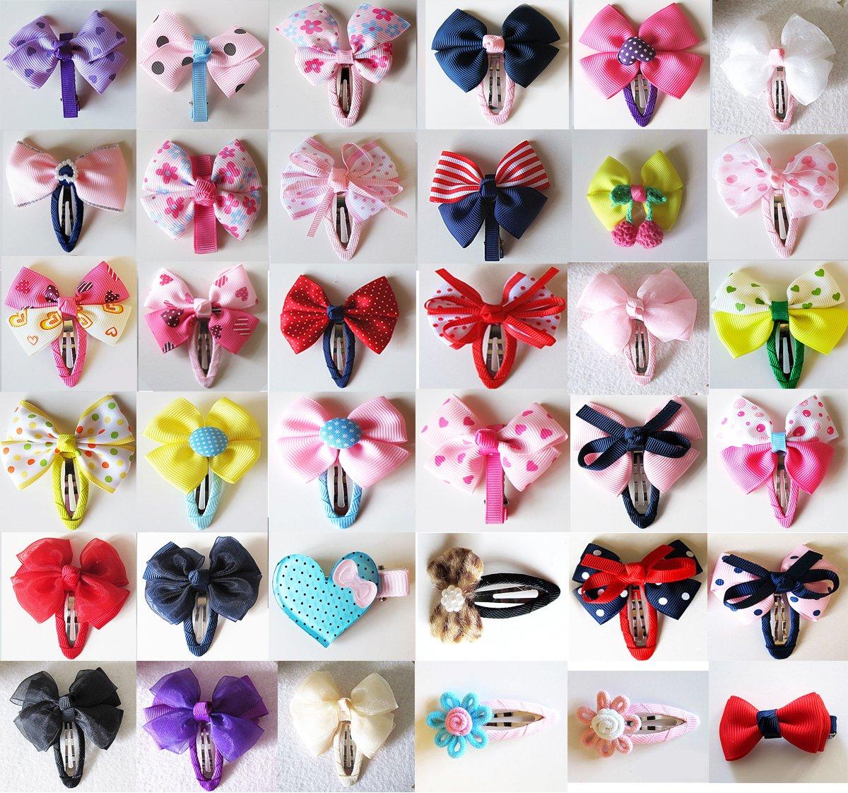 18 Pairs Girls Baby Kids Children Hair Accessories Bows Animal Clips Slides