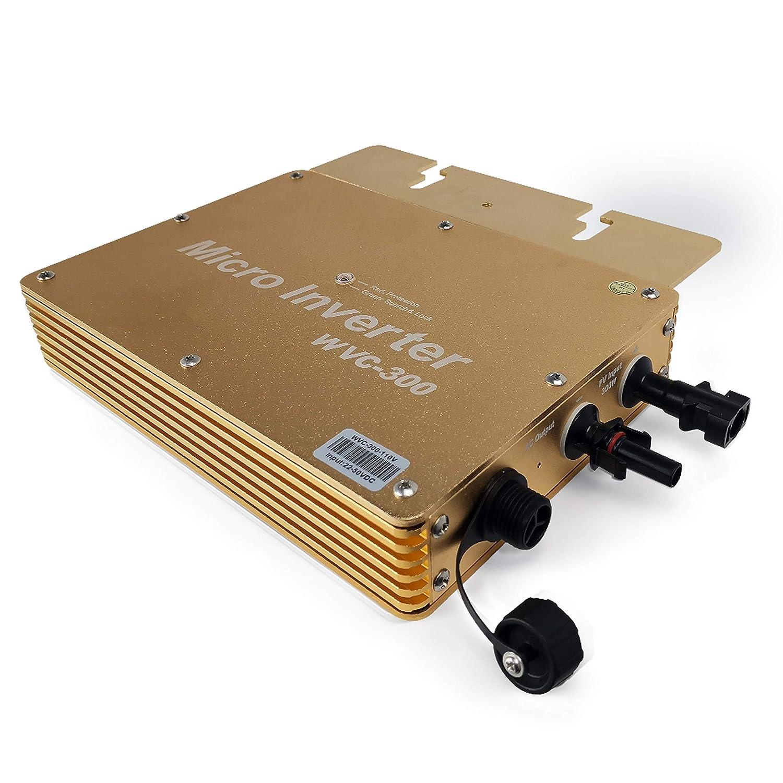 MARSROCK 300W MPPT 純正弦波 DC-AC DC22-50V AC100V 周波数60Hz 自動切替 多種保護機能付き 直列と並列可能 系統連系型 ソーラー インバーター 【小型家庭用 ソーラー、または風力システムに】 (金色) B07RV1VQY5 金色