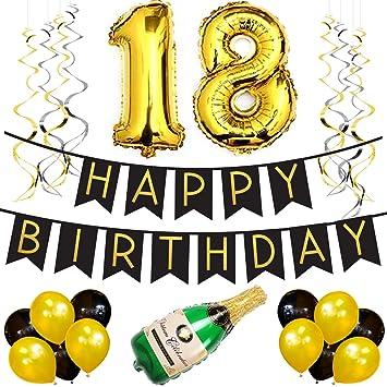 2509e9982 Paquete para Fiesta de Cumpleaños Número 18 – Paquete con Banderín de Feliz  Cumpleaños Negro y
