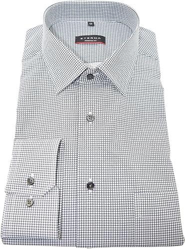 Eterna grau bedrucktes Businesshemd langarm Modern Kent mit Tasche Kollektion Größe 40