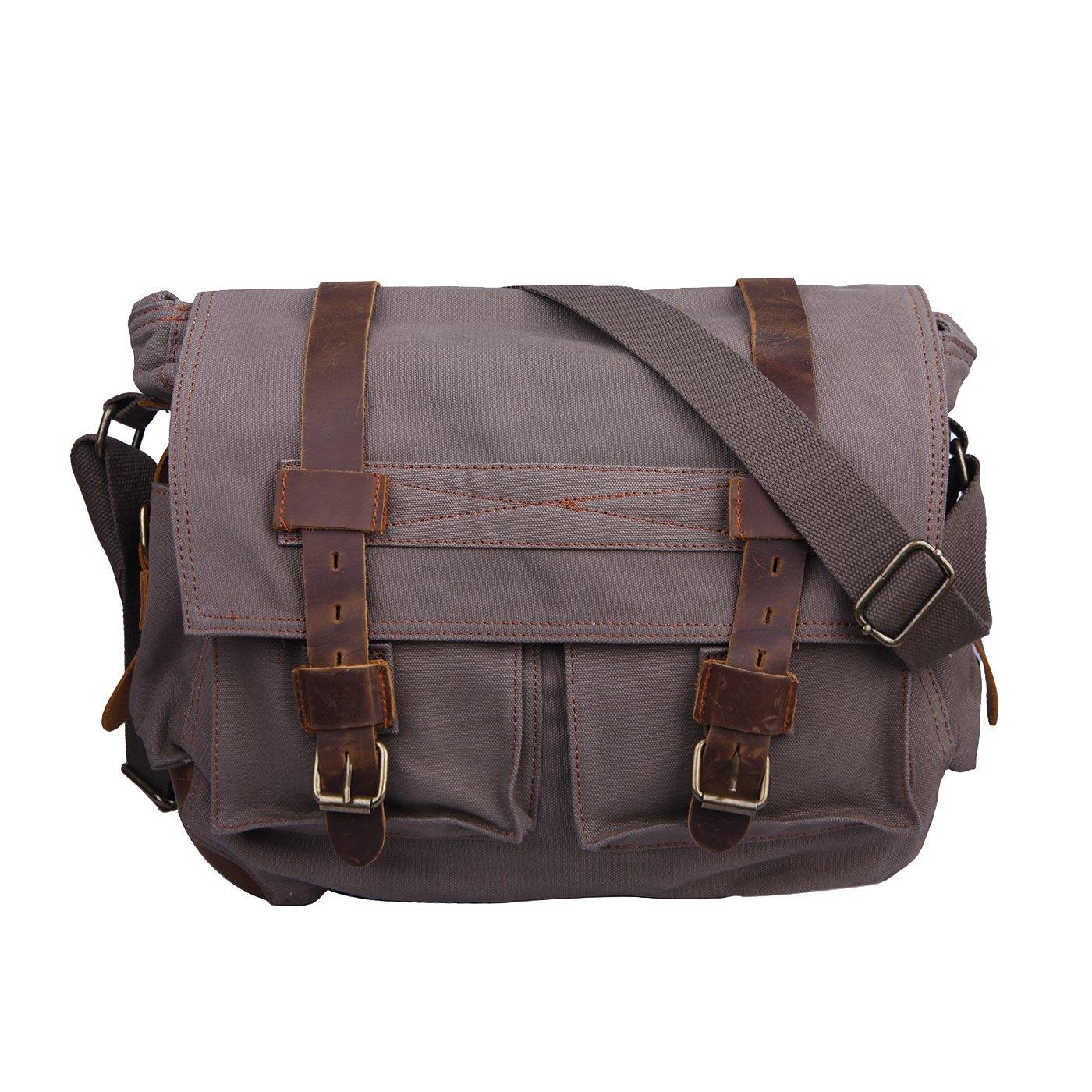HDE Vintage Canvas Messenger Bag Leather Military Tactical Style Travel Shoulder Field Bag fits 13 Inch Laptop