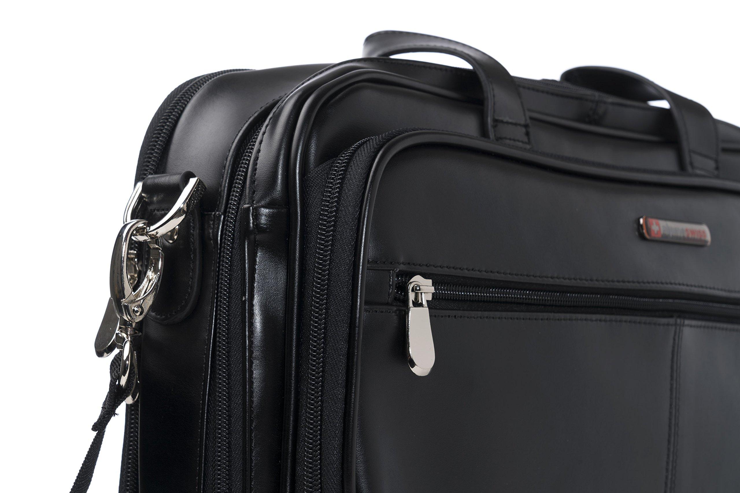 Alpine Swiss Monroe Leather Briefcase Top-Zip Laptop Messenger Bag Black by alpine swiss (Image #7)
