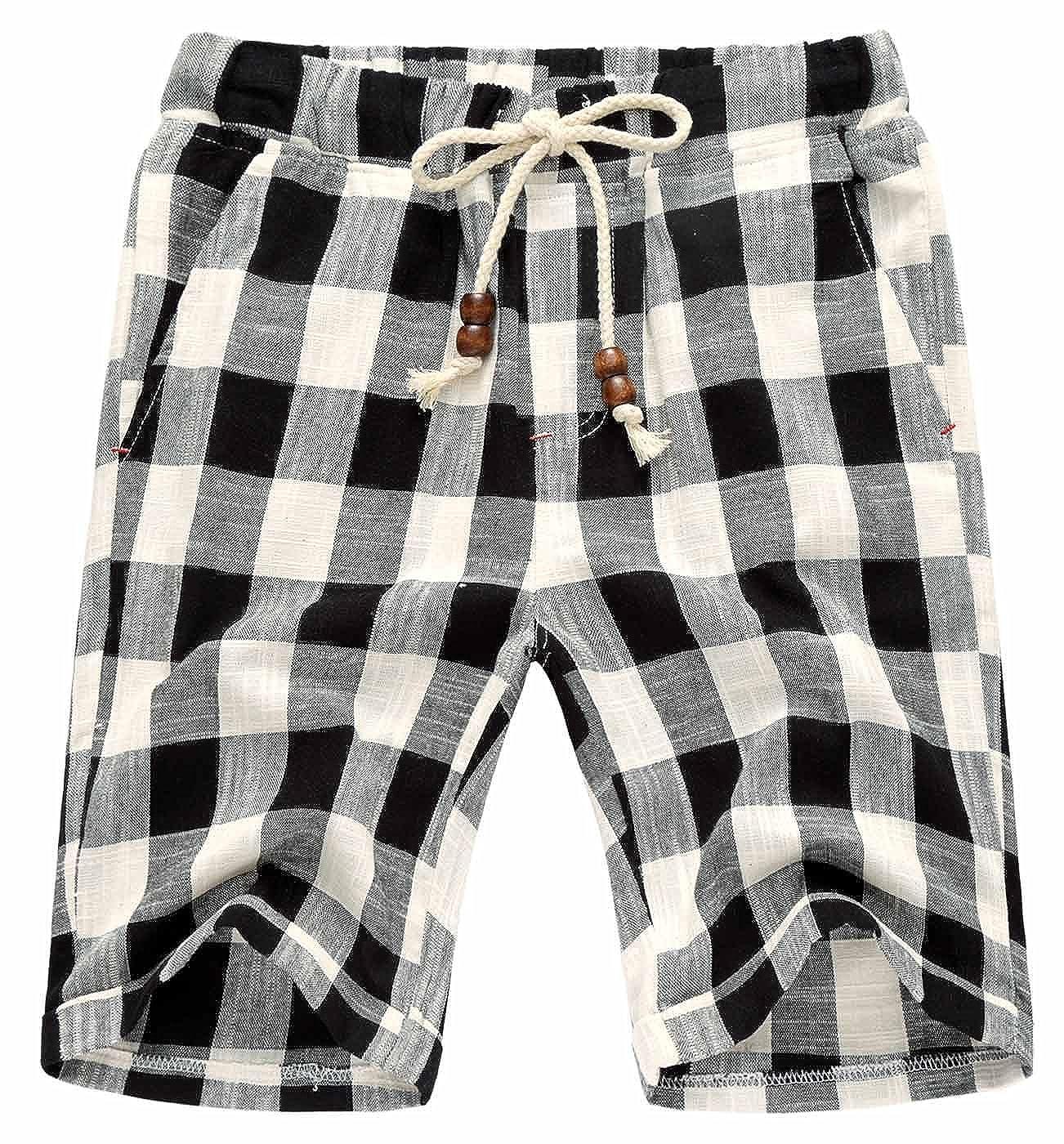 AIEOE Men Linen Shorts Drawstring Hand Pockets Soft Breathable Boardshorts