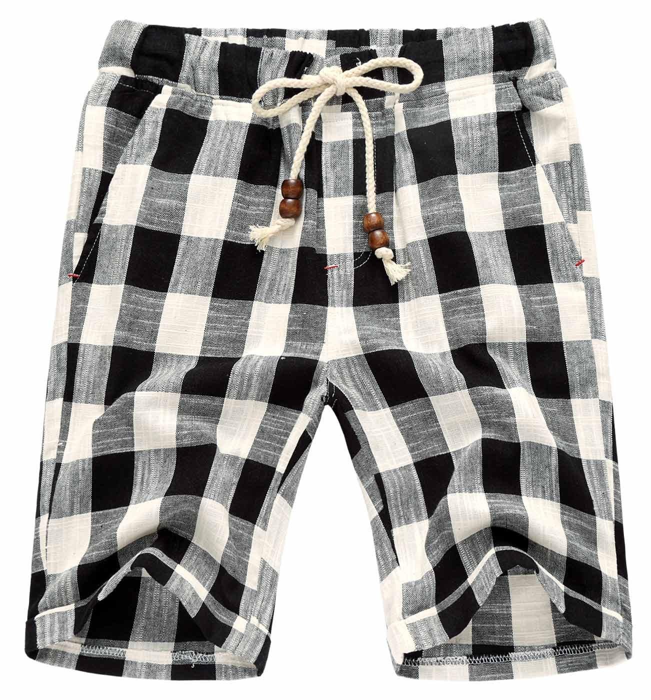 AIEOE Men Quick Dry Shorts Flat Front Summer Beach Swimming Shorts Drawstring Durable Breathable Soft Retro 36 Plaid Black