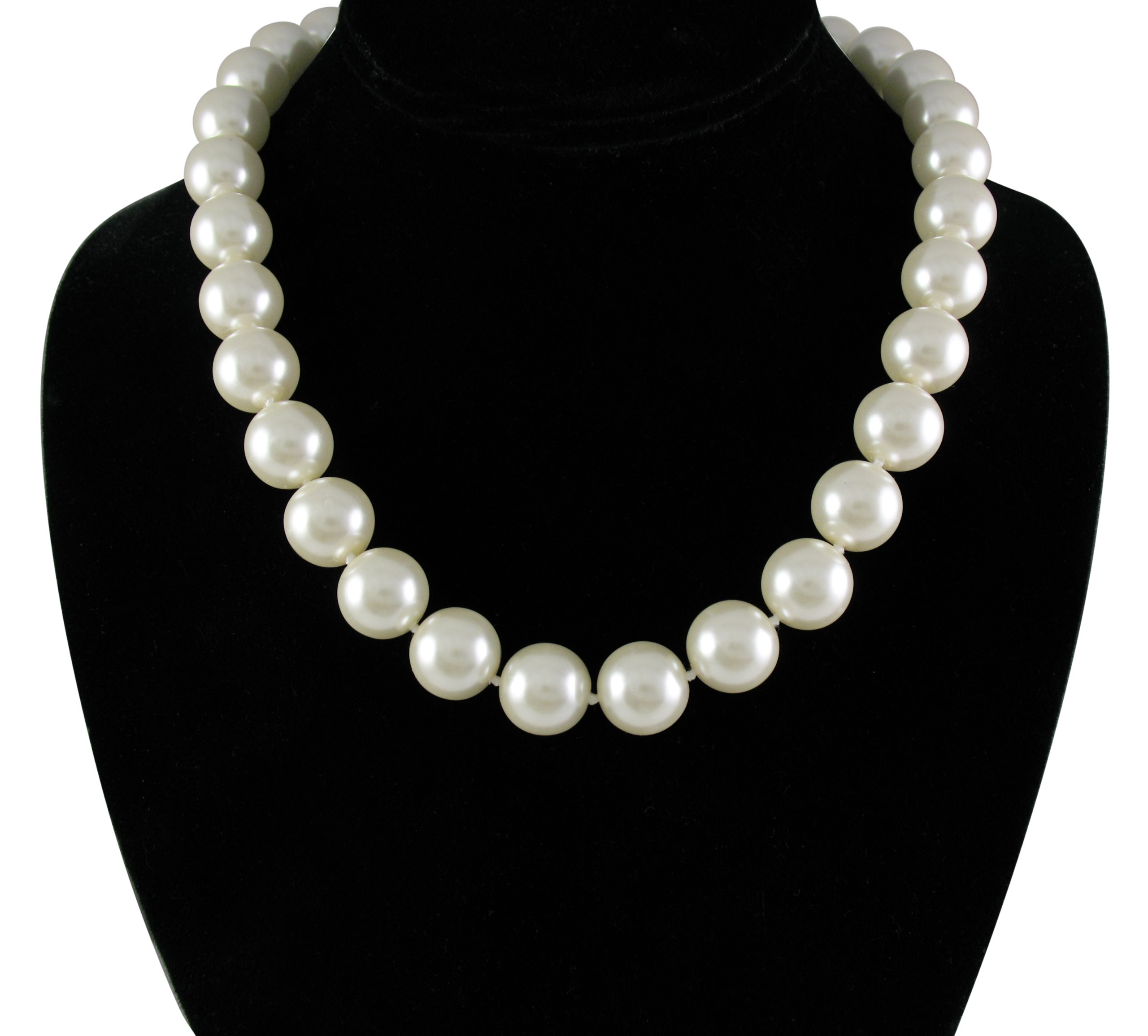 KEZEF Creations Cream White 14mm Simulated Faux Pearl Necklace Hand Knotted Strand 18 Inch
