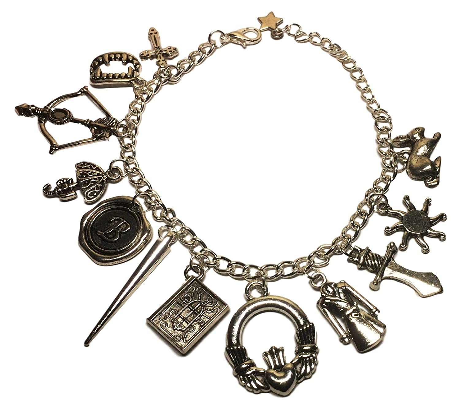 Buffy The Vampire Slayer 12 Themed Charms Metal Silver Color Charm Bracelet