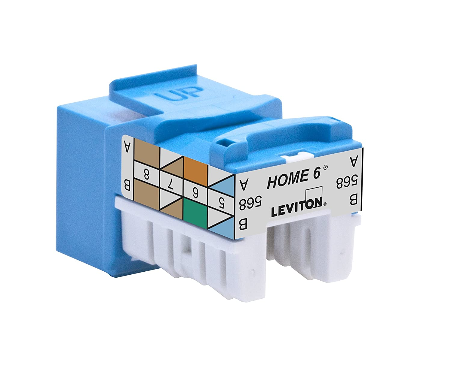 Leviton 61HOM-RL6 Home 6 Snap-In Connector, T568A/B Wiring, Blue ...