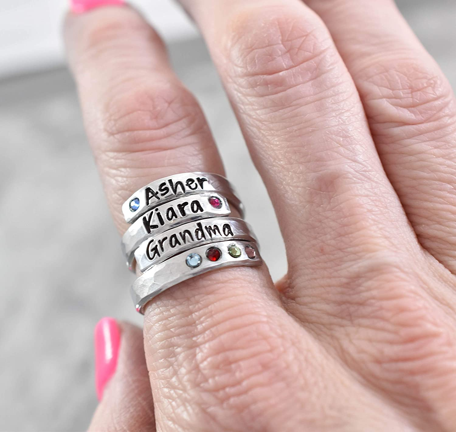 Name Ring STainless Steel Silver Engraved STamped Jewelry LOVE YOU MORE Stackable Personalized Ring Mom Grandma Nana Nona Gift stacking