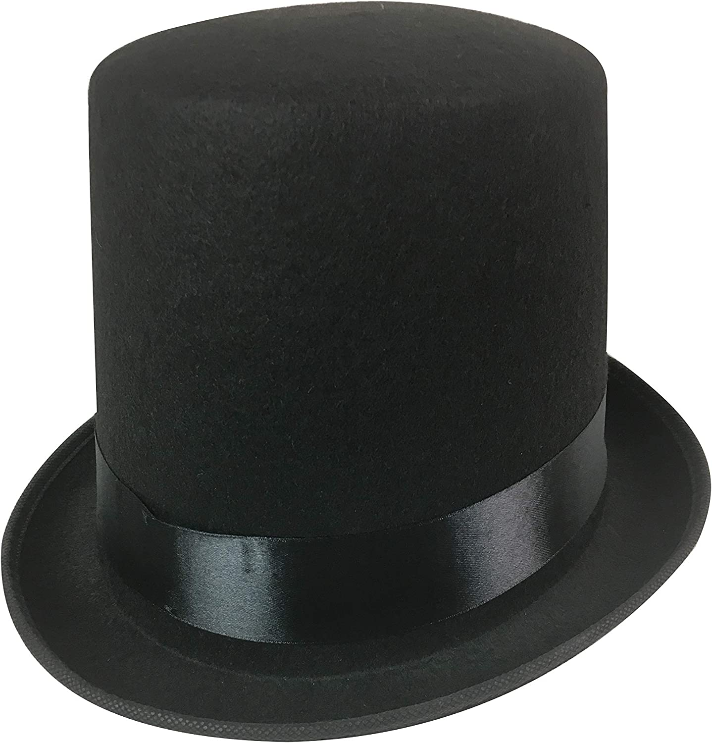 UK Adult Deluxe Black Top Hats Topper Victorian Ringmaster Lincoln Style Magic