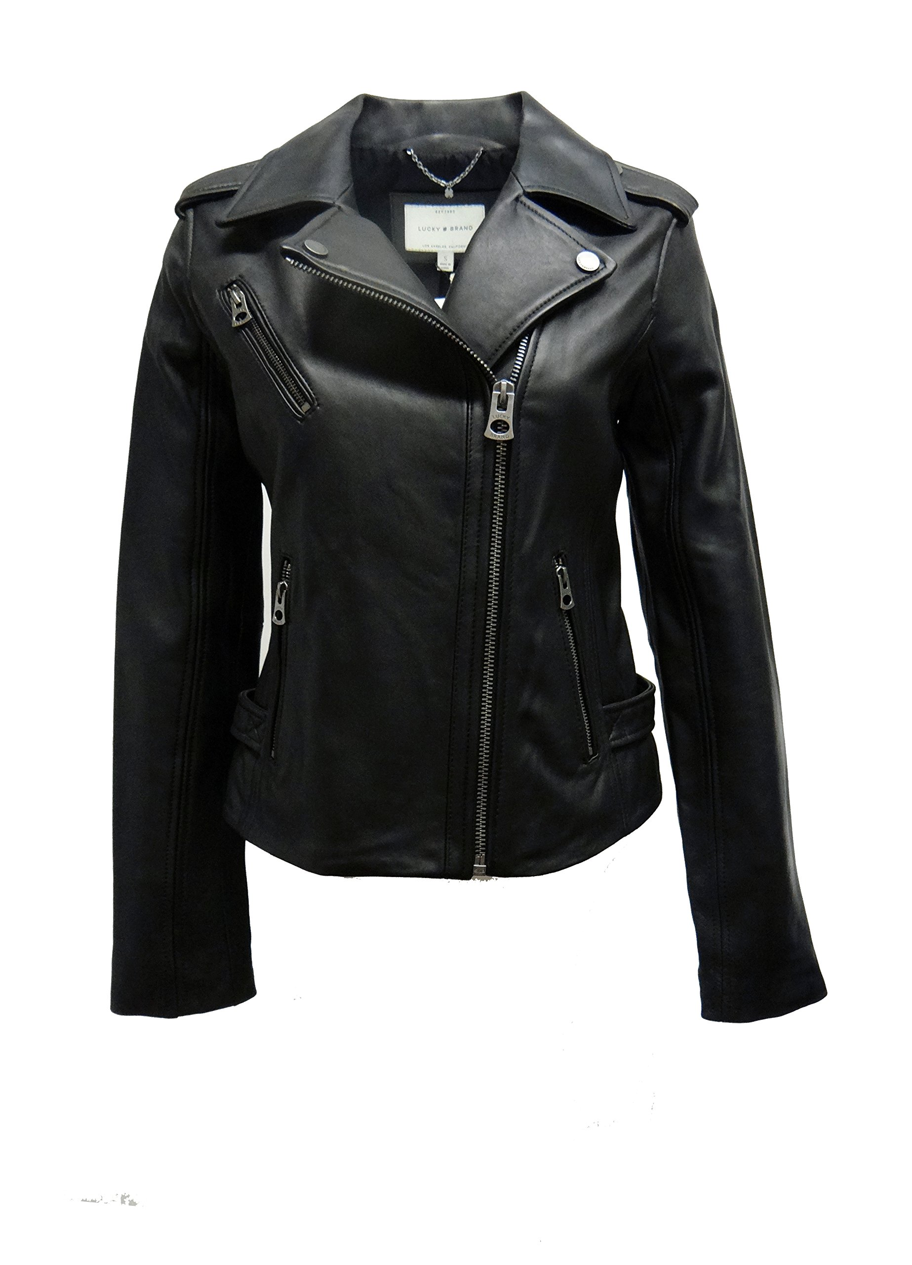 Lucky Brand Moto Leather Jacket-Black-XL