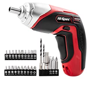 Hi-Spec 3.6v Cordless Screwdriver Set with 8 Torque Settings up to 3.5Nm, 2-Position, Rechargeable 1300mAh Battery, LED, Quick-Bit Release & 33 pc Drill and Screw Accessories Power Screw Gun Kit