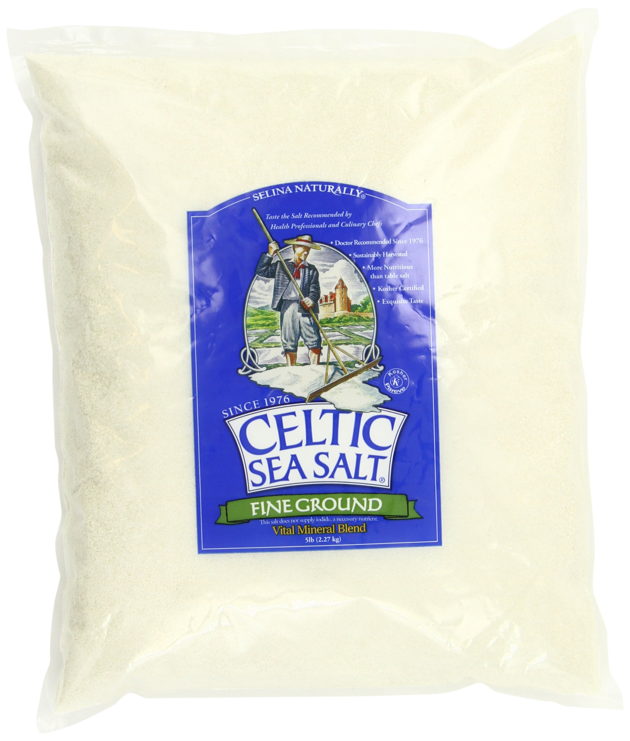 Fine Ground Celtic Sea Salt – (1) 5 Pound Bag of Nutritious, Classic Sea Salt, Great for Cooking, Baking, Pickling, Finishing and More, Pantry-Friendly, Gluten-Free, Kosher and Paleo-Friendly
