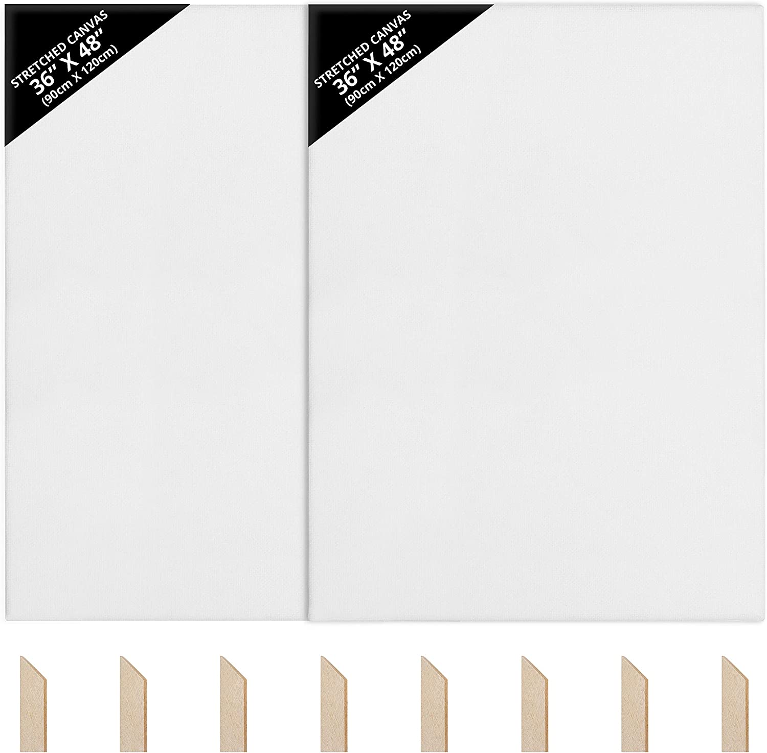 2x Canvas Board Cotton Blank Painting Canvas Panels Stretched Framed For Wet Art