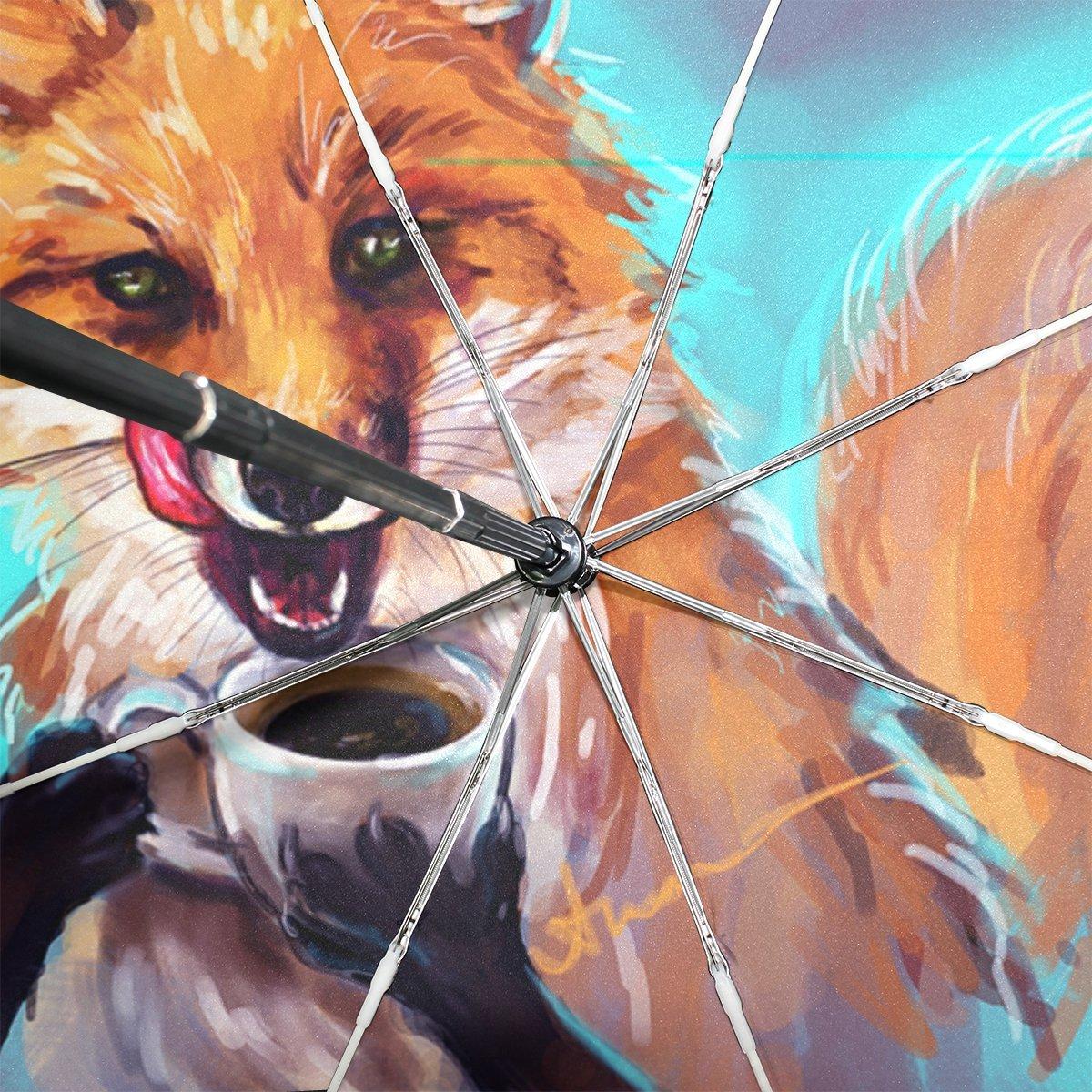 BENNIGIRY Paraguas Fox Art UV - Sombrilla Ligera y antirayos UV, Elegante Reverso de 3 Pliegues, Resistente, Paraguas Especial Regalos para Negocios y ...