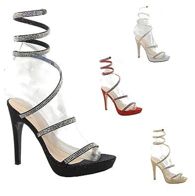 6a8547c2647cb8 Ladies Emma Stiletto High Heel Spring Coil Fit Diamante Wedding Bridal  Sandals - Black PU