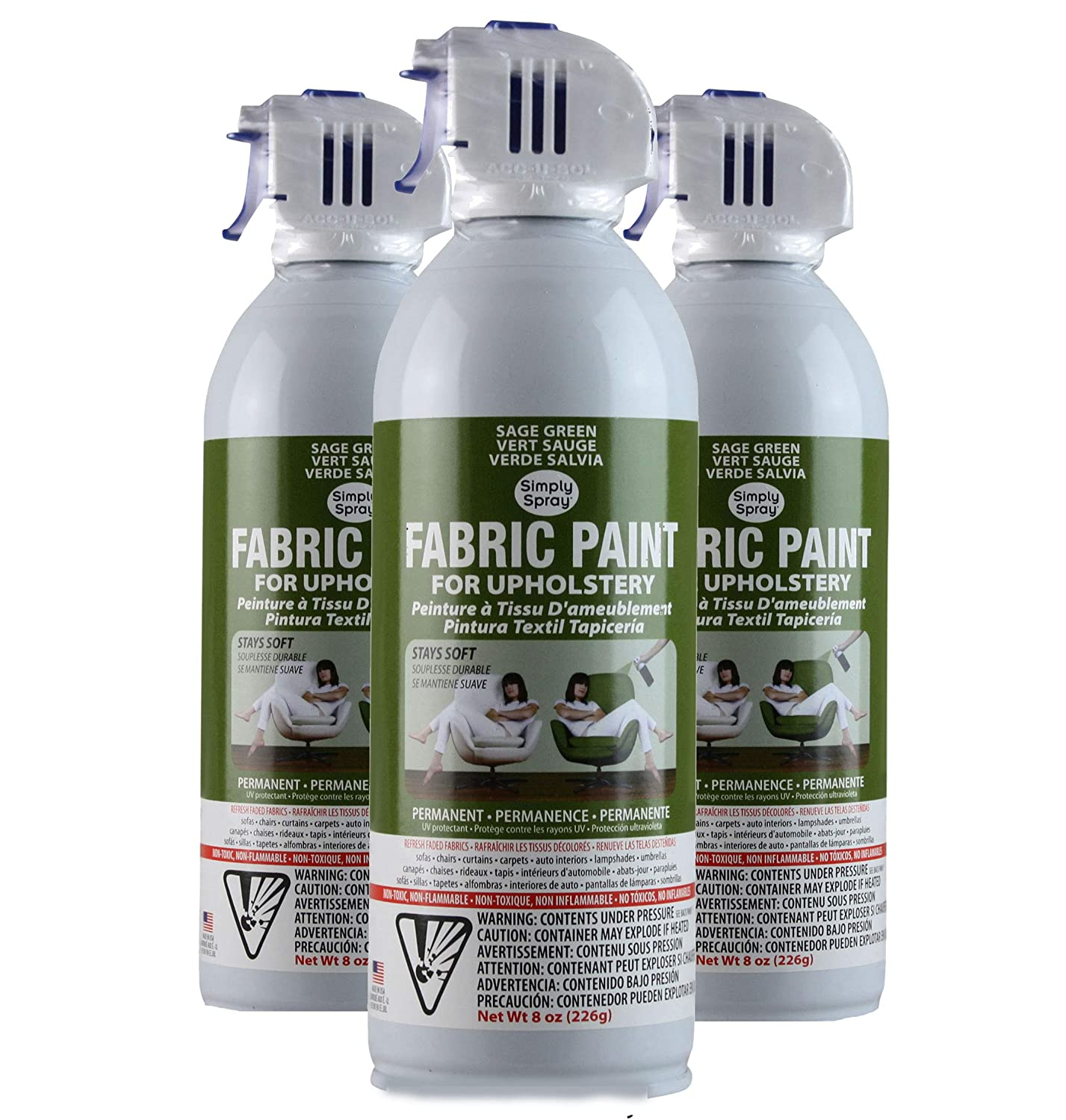 Amazon.com: Simply Spray Upholstery Fabric Spray Paint 8 Oz. Can 6 Pack  Charcoal Grey: Home Improvement