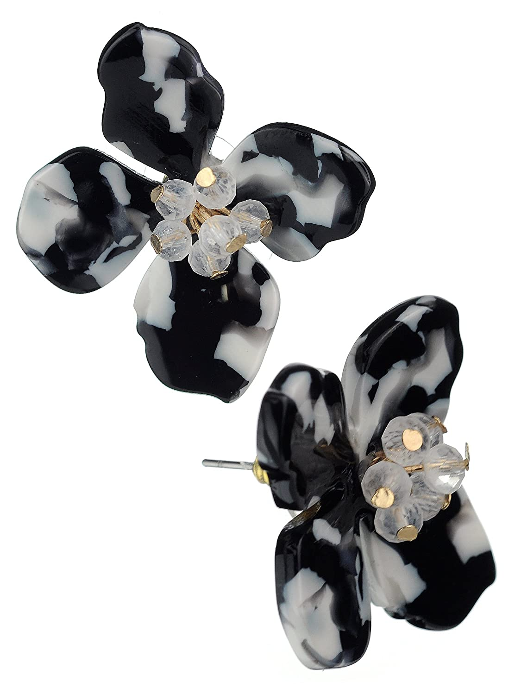 Black and white enamel bow stud earrings