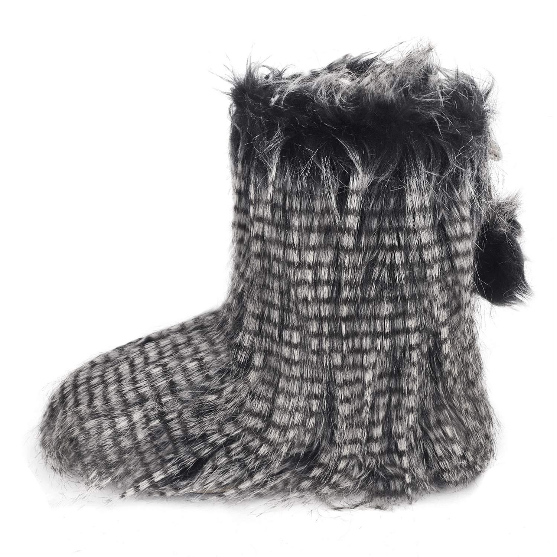 YJZQ Damen Hohe Hausschuhe Winter Pantoffeln Stiefel mit