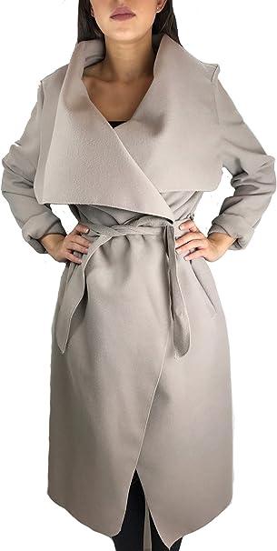 Worldclassca Damen Wasserfall Mantel Blogger Jacke Trenchcoat Fashion Cardigan Kragen ÜBERGANGSJACKE