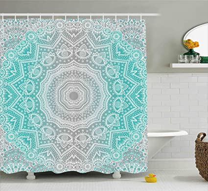 Amazoncom Ambesonne Grey And Turquoise Shower Curtain Primitive