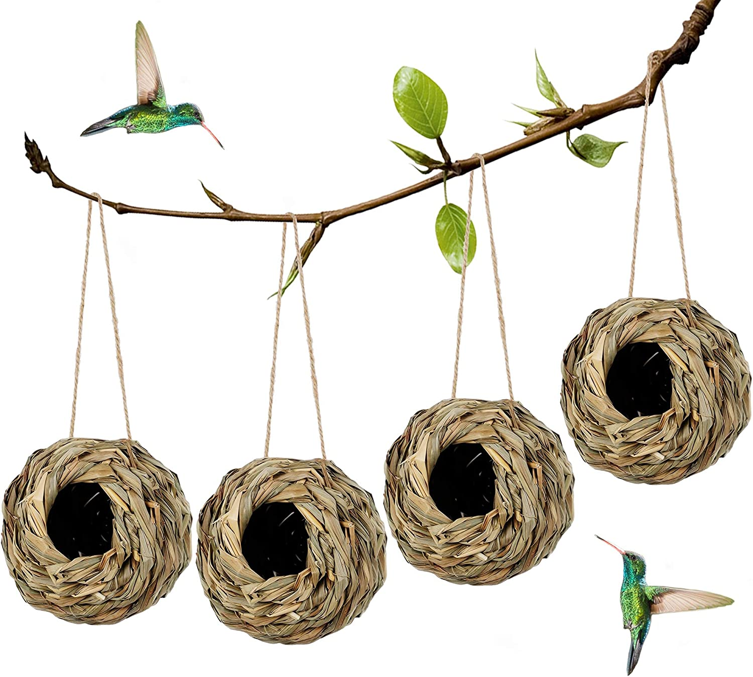 winemana 4 Pack Hanging Hummingbird Nest House for Outside, Ball Shape, Hand Woven, Durable Sturdy, Made of Natural Grass, Perfect for Garden Patio Lawn Office Indoor