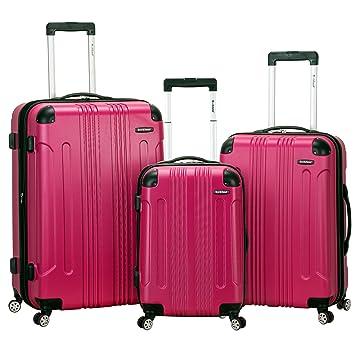 ed85ad260 Amazon.com   Rockland Luggage 3 Piece Sonic Upright Set, Magenta, One Size    Luggage Sets