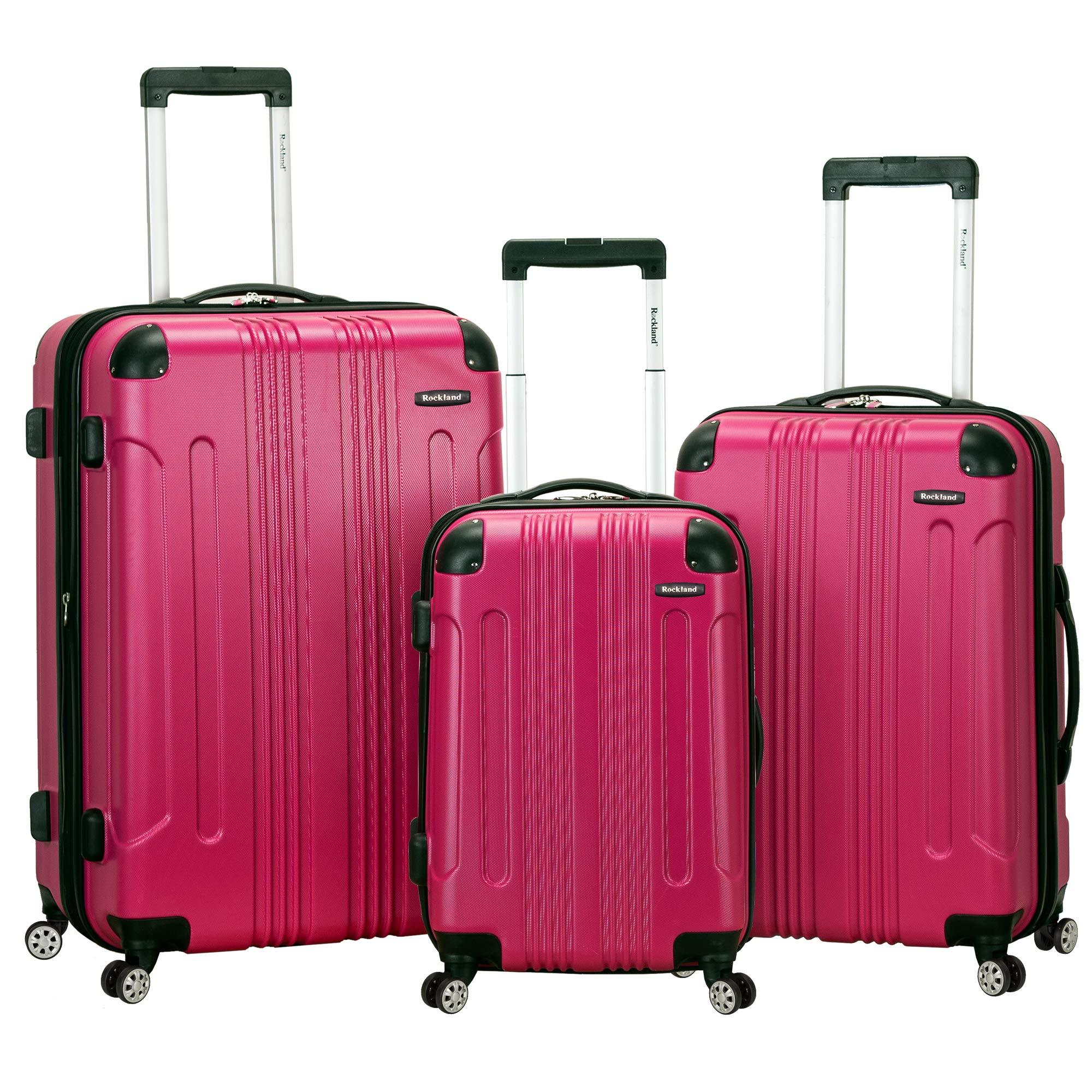 Rockland Luggage 3 Piece Sonic Upright Set, Magenta, One Size