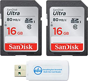 SanDisk Ultra - 2 Pack Bundle UHS-I Class 10 SD Flash Memory Card Retail (SDSDUNC-016G-GN6IN) - With Everything But Stromboli (TM) Combo Card Reader (16GB 2 Pack)