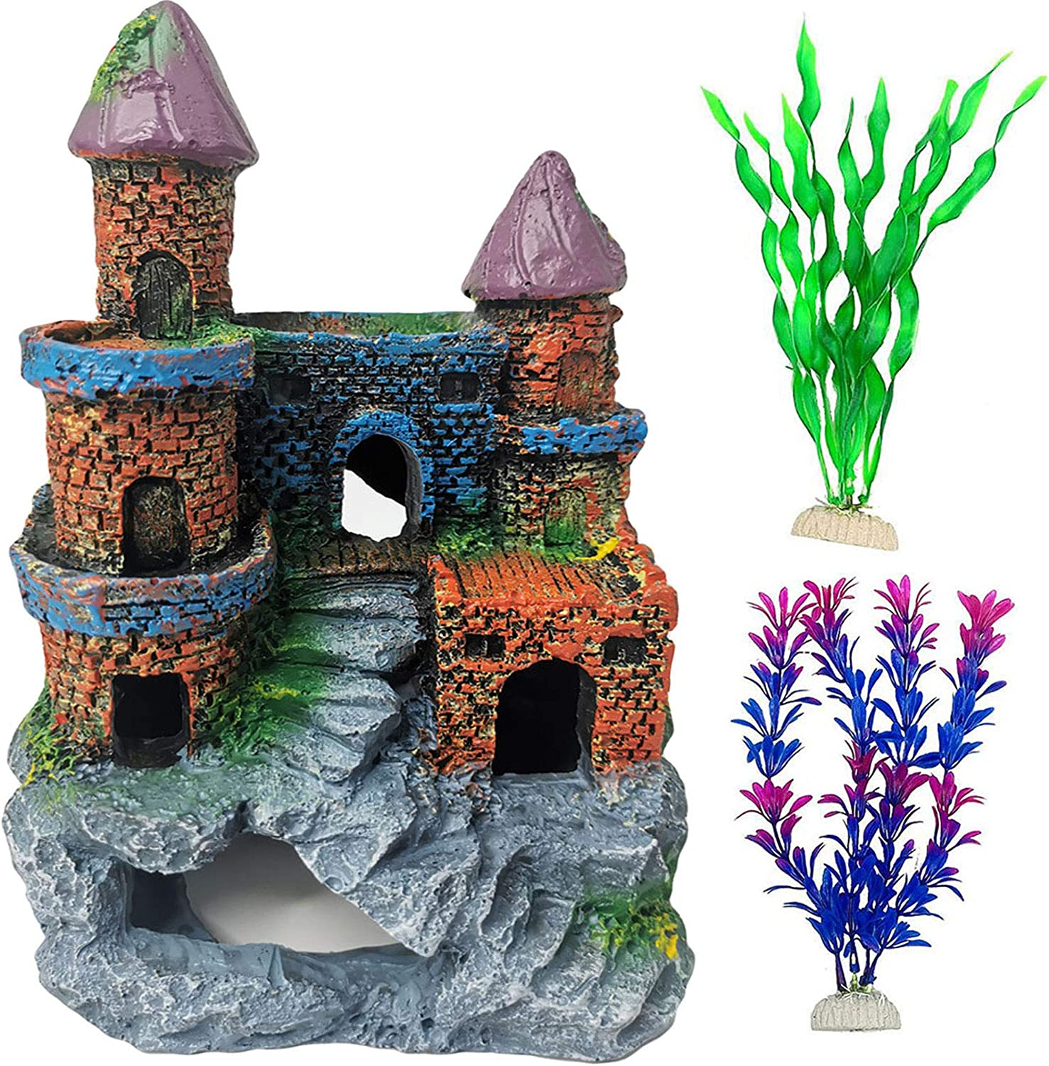 PINVNBY Castle Aquarium Decorations Resin Fish Tank Ornament Betta Hideout House Simulation Roman Column Decor with Artificial Aquatic Plants for Tiny Fish Swim Through (Roman Column)