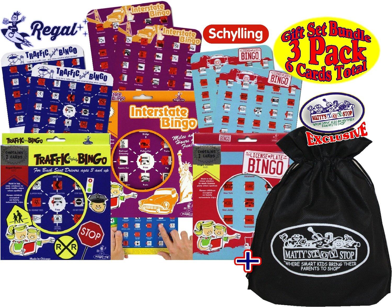 Regal Games Classic Travel Bingo Cards Traffic Safety Bingo, License Plate Bingo & Interstate Bingo Gift Set Bundle with Exclusive Matty's Toy Stop Storage Bag - 3 Pack (6 Bingo Cards Total)