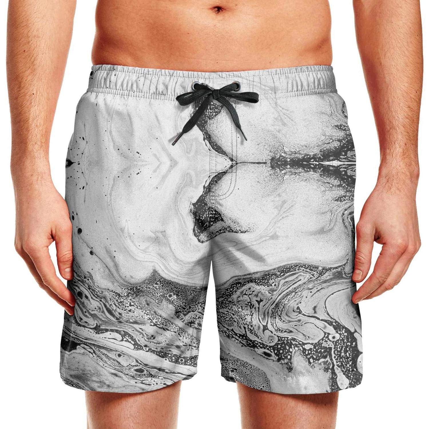 Stretch Quick-Dry Classic Comfortable Fashion Mens Printed Beach Pants Swim Trunks Shorts Walking Black and White Marble Abstract Loose