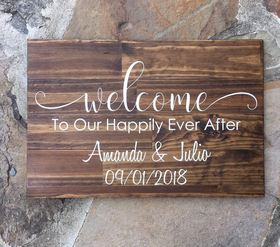 PotteLove Welcome to Our Happily Ever After - Wooden Wedding Sign - Rustic Wedding Decor - Personalized Wedding Sign Rustic Wooden Plaque Wall Art Hanging Sign for Home Decor 8
