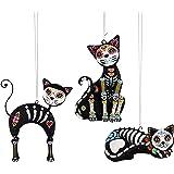 5-in. Metal Ornaments, Sugar Skull Cats, Assorted 3