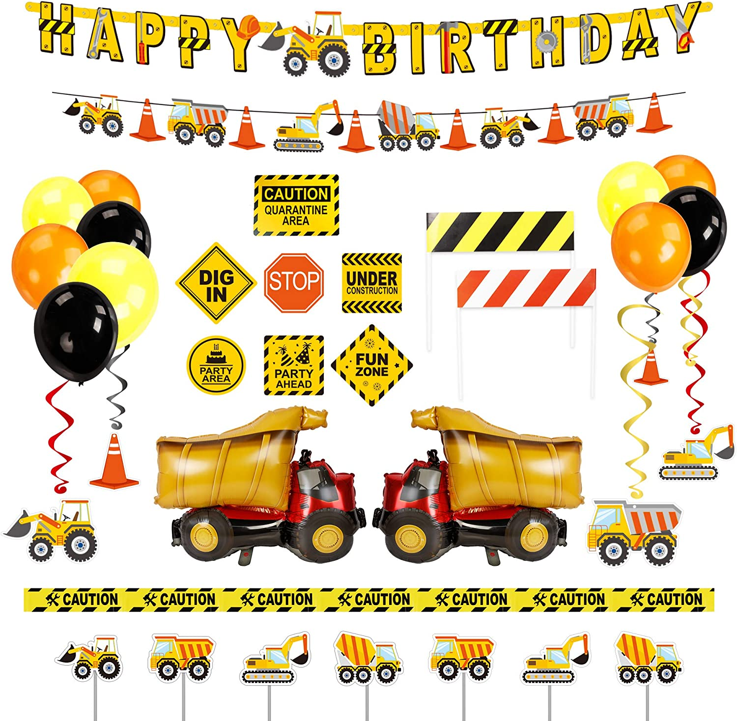 Decorlife Construction Birthday Decorations, Truck Party Decor for Boys, Including Happy Birthday Banner, Balloons, Cupcake Toppers, Caution Tape, Construction Sign Cutouts, Vehicle Banner, Barricades, Hang Swirls
