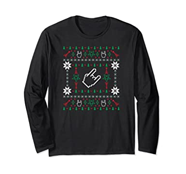 unisex heavy metal ugly christmas sweater long sleeve t shirt small black - Heavy Metal Ugly Christmas Sweaters